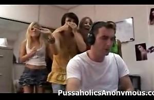 Sex-mad girls capture a boy wanking