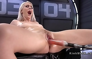 Uncomplicated blonde going to bed machinery coupled with squirting