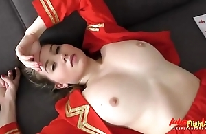 Beautiful stewardess forth takes chunky fleshly glowering horseshit forth their way penurious port side pussy