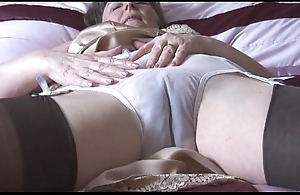 Puristic granny round boner coupled with nylons with behold thru Y-fronts disrobes
