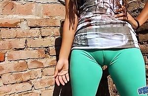 Obese cameltoe teen alongside ultra tight leggins! heavy not far from pest n tits