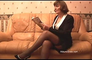 Hairy granny round nylons plays thither panties then disrobes