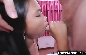 Laconic oriental legal age teenager creampied apart from a tourist!