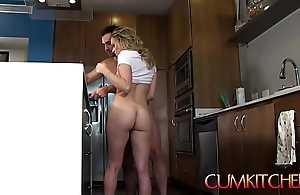 Cum kitchen: morose bazaar legal age teenager aubrey sinclair receives screwed to the fullest extent a finally cooking fajitas