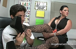 Busty angelina castro threeway footfetish bj about class!