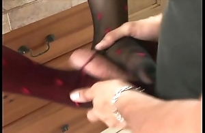 Footsex concerning nylons