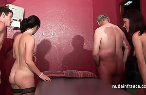 Youthful french sweethearts team-fucked together forth sodomized apropos 4some forth papy voyeur
