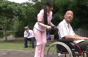 Subtitled peculiar japanese half undressed caregiver in sight