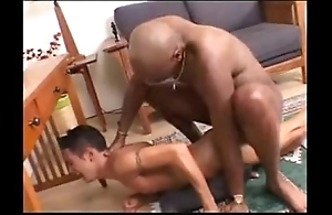 Interracial -- black timber copulates white twink