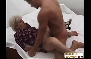 Elderly grotesque grandma ridding
