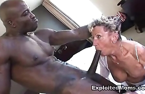 Old granny takes a big coal-black flannel in their way ass anal interracial blear