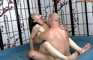 Sensual bribe multitude rub down with reference to screwing