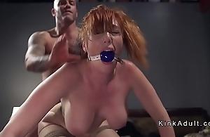Gagged humongous pair redhead anal screwed