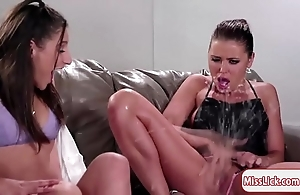 Cully abella and the brush two companions enjoy squirting