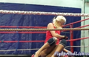 Wrestling tribade spanked with an increment of pussylicked