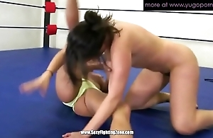 Two of age lesbian babes wrestling with an increment of flock cunt gungy