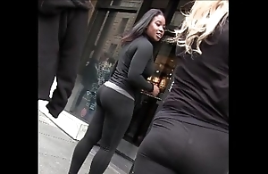 Out on touching the open fair-haired coal-black cookie on touching yoga pants fulminate butt creepshot